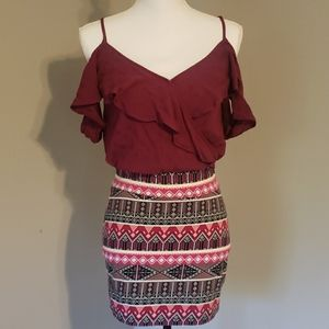 2 piece berry cropped top and tribal mini skirt